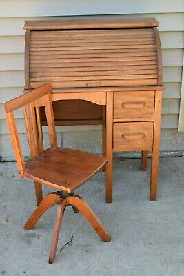 Antique Child's Roll Top Desk and  Swivel Adjustable Chair  (Kids Roll Top Desk)