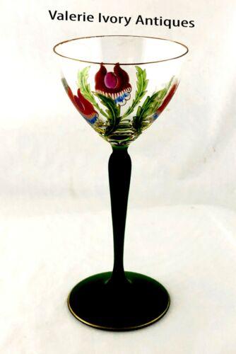 Theresienthal Staengelglas Enamel Flower Decorated Wine Glass Stem