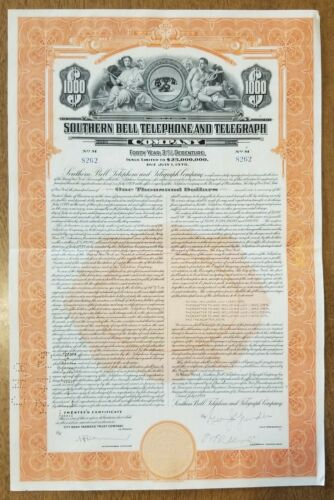 1939 Southern Bell Telephone & Telegraph Company Bond stock Certificate