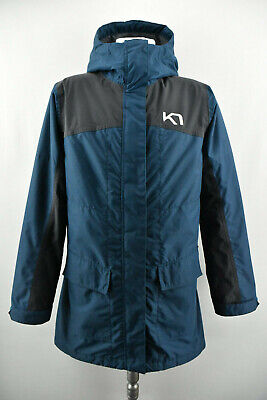 KARI TRAA Womens Long Jacket Windproof Hooded Outdoor Blue Coat Size M