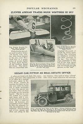 1923 Magazine Article Sky Writing Above New York City Capt. Cyril Turner Biplane