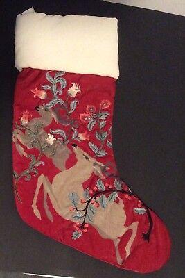 Pottery Barn FaIrytale Reindeer Embroidered Velvet Stocking New Rare Last one Embroidered Velvet Stockings