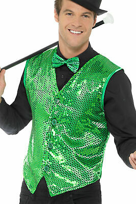 Green Sequin Waistcoat Vest Mens Adult St. Patrick Day's Costume Accessory SM-XL - St Patrick Day Costumes