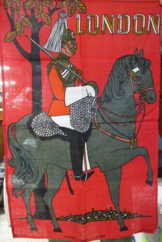 Vintage Colorful Linen Towel Souvenir of London Mounted Guardsman Never Used