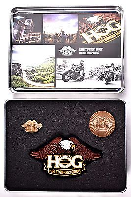 Harley Davidson Owners Group Hog Welcome Kit  Patch  Pin  Coin  Membership Guide