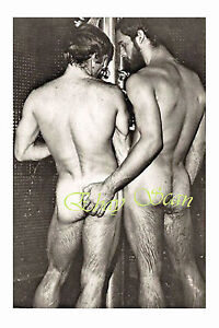 VINTAGE-PHOTO-MUSCULAR-NUDE-HAIRY-MEN-GRAB-HARD-BUTTS-IN-SHOWER-GAY-INTEREST-109