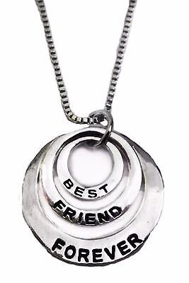 Best Friends Forever BFF Silvertone Three Ring Pendant Necklace