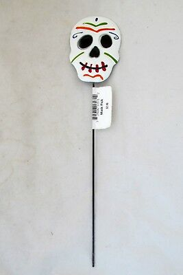 Day of the Dead Halloween Skeleton Skull Floral Garden Stake Metal Mask Pic  - Halloween Mask Pics