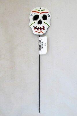 Day of the Dead Halloween Skeleton Skull Floral Garden Stake Metal Mask Pic  (Halloween Masks Pics)