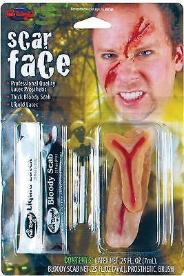 Narbe Gesicht Kostüme (Narbe Gesicht Latex Prothetisch Blood Hautkleber Schmink-Set Kostüm FW9566SF)
