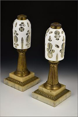 Pair of 19th Century Extra Large Boston Sandwich Glass Cut Overlay Peg Lamps
