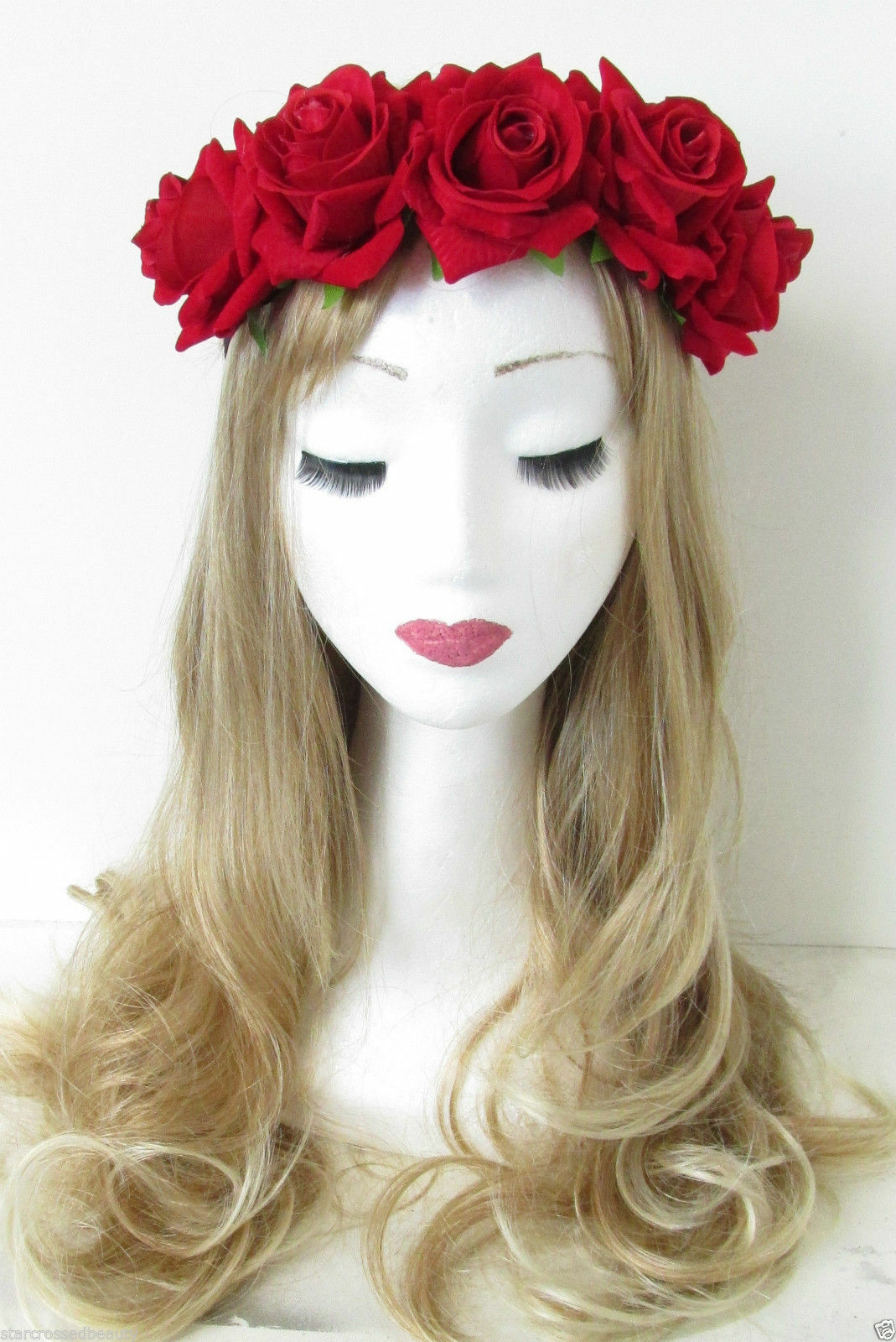 New Bridal Flower Rose Garland Crown Hair Band Wedding Headb