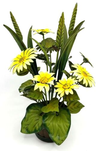 Italian Tole Toleware  Flower Pot Yellow White Green Daisy Enamel Italy