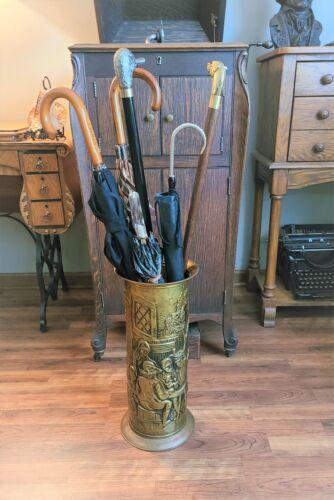Antique Embossed Brass Umbrella Stand