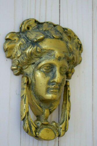 """Vintage~ Large ~ Solid Brass Front  Door Knocker """" GREEK GODDESS""""~ Aged Patina"""