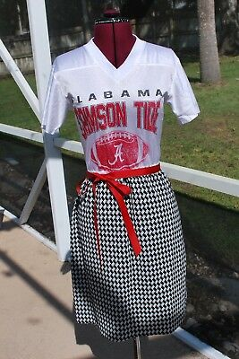 Alabama Crimson Tide Football Jersey Dress Upcycled T-Shirts S Houndstooth - Football Jersey Dresses