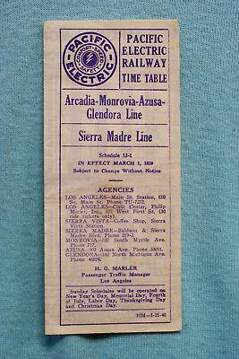 Pacific Electric Pocket Time Table - #13 -1, Arcadia-Monrovia, 3/1/39