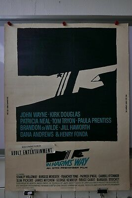 *CARDSTOCK* IN HARMS WAY 1965 US MOVIE POSTER SINGLE SIDED ROLLED AUTHENTIC