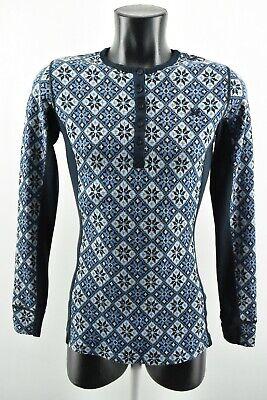 Kari Traa Women`s Shirt Grey Blue Warmer Merino Wool Long Sleeve size L