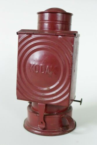 Antique Kodak Darkroom Safelight Oil Lantern With amber Filter vintage