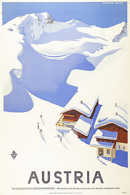 Vintage AUSTRIA Skiing/Travel Poster A1A2A3A4Sizes