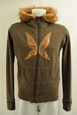 KARI TRAA Womens Jacket Long Sleeve Fur Hooded Pockets Brown Coat Size L