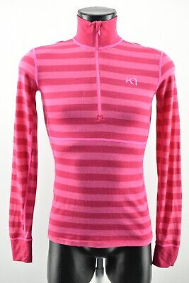 Kari Traa Women`s Striped Shirt Half Zip Neck Pink Warmer Merino Wool size S