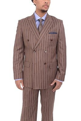 Steven Land Classic Fit Brown Striped Double Breasted Pleated Suit