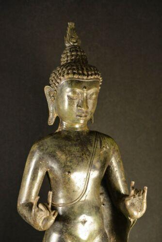 Vintage Large Thai Standing Bronze Buddha Figurine - 23 inches tall - 🐘