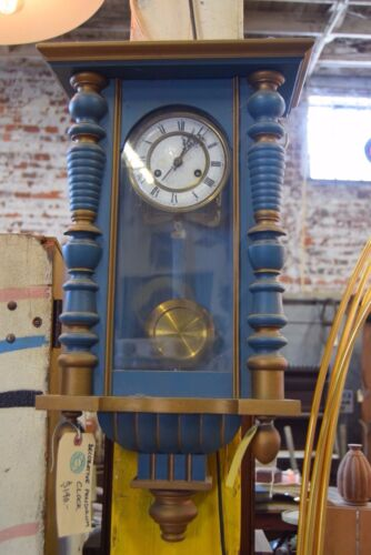 Vintage Blue and Gold Grandmother Wall Hanging Clock