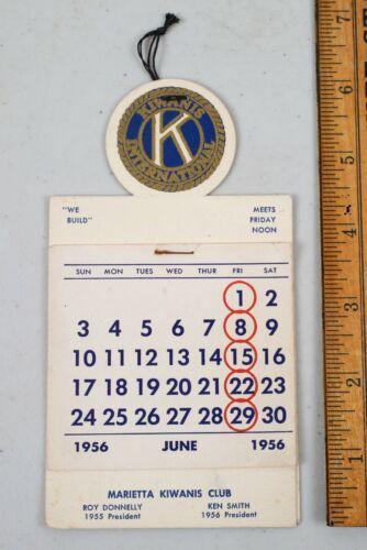 1956 Kiwanis International Paper Sample Small Hanging Calendar Marietta Georgia