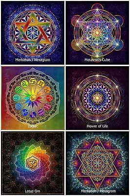 6x Blume des Lebens Zodiac Hexagram Lotus Om Metatrons Cube Aufkleber Sticker