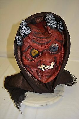 Devil Eyes Halloween (Halloween Costume Mask Devil Red Ram Horns Black Hood Eyes Soft Rubber Latex )