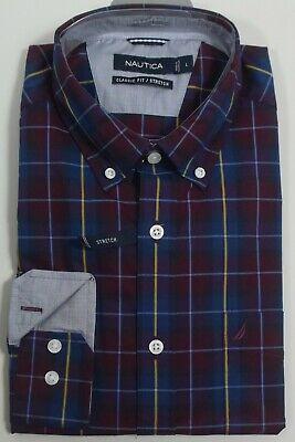 NAUTICA Men's Classic Fit Stretch Long Sleeve Plaid Burgundy Shirt NEW NWT 3XL