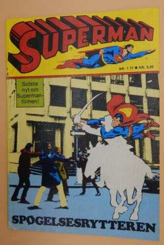 1977 vintage DC Comics SUPERMAN #177 comic book Danish Action Adventure RARE !!!