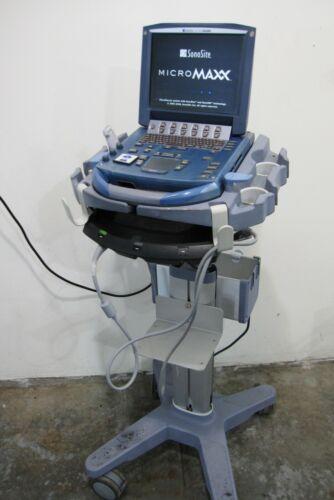 Sonosite MicroMAXX Ultrasound 2009 with L25e/13-6 MHz Probe, Data Card, Cart