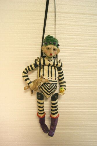 """Judie Bomberger """"JoJo"""" Jester with Dog Signed Sculpted Painted Puppet Figurine"""