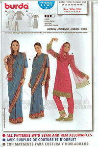 From UK Sewing Pattern Fancy Dress Asian Indian sari Costume 8-20 #7701