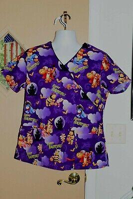 Disney Scrub Top Women's Halloween Theme Pooh Sz M Good Condition!
