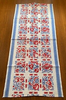 Vintage Kitchen Tea Towel Flowers Fruit Reds Blues Unused Nice!