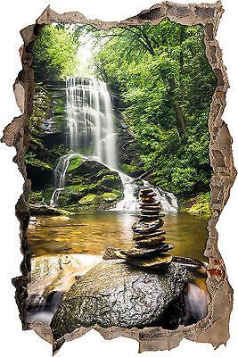 Vor Fall (Zen Steine vor Wasserfall - 3D-Look Durchbruch Wandtattoo Aufkleber-Sticker)