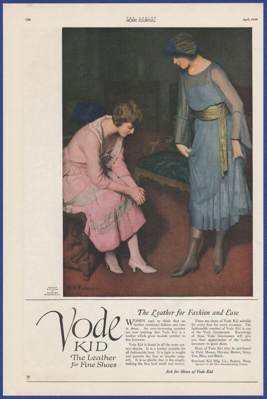 Vintage 1920 VODE KID Fine Leather Shoes Fashion Art Decor Print Ad 1920