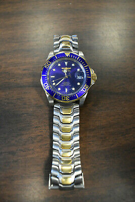 Invicta Mens Watch Pro Diver Automatic Blue Dial 2 tone Stainless Steel Bracelet