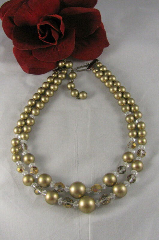 Vintage 2 Strand Golden tone & Crystal  Beaded  Necklace CAT RESCUE