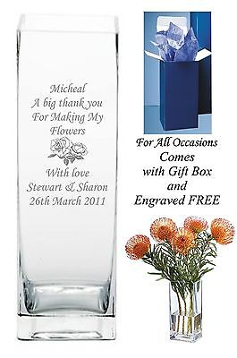Personalised engraved  glass vase Birthday Gifts for someone special friend gift