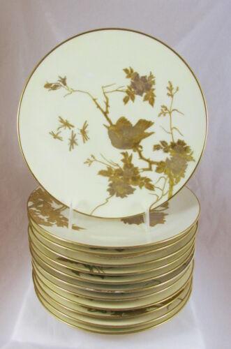 12 Old Fischer&Mieg Pirkenhammer Porcelain Aesthetic Bird Flowers Gold Plates
