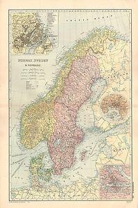 1908 grandes victorianas Mapa  Noruega Sucia y Dinamarca