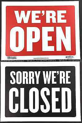 We Are Open Sorry We Are Closed Sign 9 X 12 Red Black Flexible Plastic Were