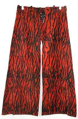 Handmade Red Zebra Flame Corduroy Flare Leg Disco Roller Derby Pants M (34 x - Corduroy Kostüm