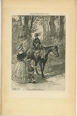 ANTIQUE EQUESTRIAN COSTUME HORSE SADDLE RIDER VICTORIAN MOTHER BOY CHILD PRINT